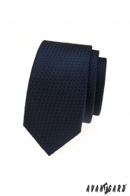 Modrá strukturovaná úzká kravata