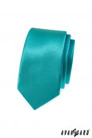Úzká slim kravata tyrkysové barvy