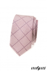 Úzká kravata pudrově růžová se vzorem
