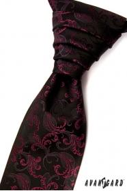 Černá svatební kravata s fuchsiovými ornamenty