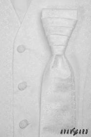 Bílá pánská svatební vesta s kravatou lesklý vzor