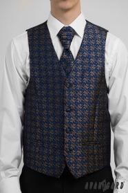 Tmavěmodrá pánská společenská vesta hnědý vzor