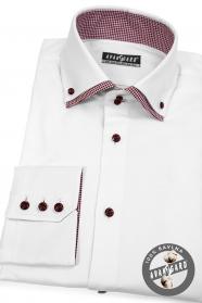 Bílá košile kombinovaná s červeným