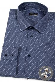 Pánská košile bavlněná tmavěmodrá světlý vzor
