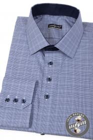 Modrá kostkovaná slim košile dlouhý rukáv