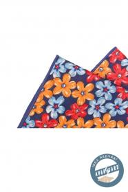 Květovaný kapesníček hedvábný modrá oranžová červená