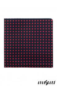Tmavě modrý kapesníček s červenými puntíky