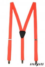 Oranžové šle Y s koženým středem zapínání na klipy