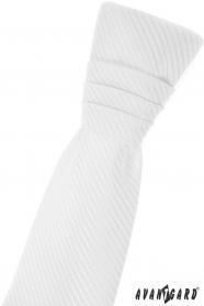 Bílá chlapecká francouzská kravata s diagonálním proužkem
