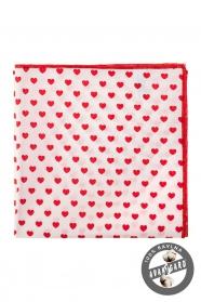 Bílý kapesníček do saka - Červená srdce