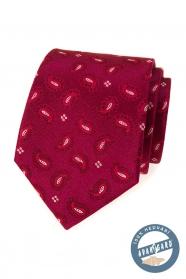 Hedvábná vzorovaná kravata v barvě bordó