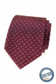Červená hedvábná kravata s barevným vzorem