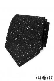 Černá pánská kravata Noty