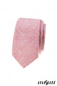 Pudrově růžová slim kravata se vzorem Paisley