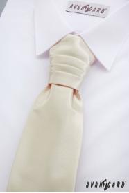 Francouzská chlapecká kravata s kapesníčkem v krémové