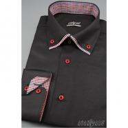 Pánská košile SLIM s dlouhým rukávem - Černá
