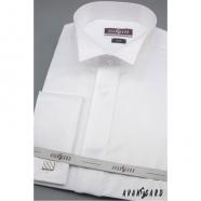 Pánská fraková košile SLIM na manžetové knoflíčky - Bílá