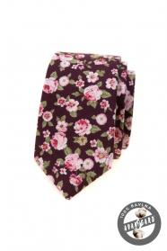 Úzká kravata s růžovými květy