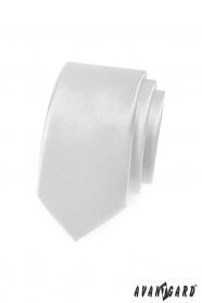 Hladká bílá slim kravata