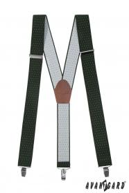 Pánské šle zelené s bílým puntíkem hnědou kůží a kovovými klipy