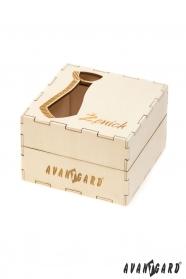 Dřevěná dárková krabička na kravatu Ženich