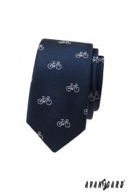Modrá slim kravata bílým motiv jízdní kolo