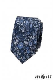 Tmavě modrá úzká kravata s květinovým vzorem