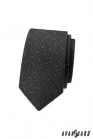 Tmavě šedá slim kravata s moderním vzorem