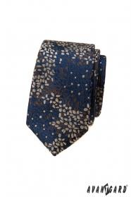 Modrá slim kravata se barevným vzorem