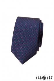 Tmavě modrá puntíkovaná slim kravata