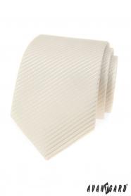 Smetanová pánská kravata s žíhanou strukturou