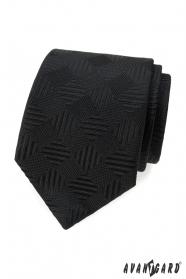 Černá kravata s čtvercovým vzorem