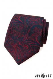 Kravata s modro-červeným vzorem