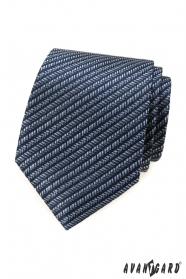 Modrá kravata s pruhovaným vzorem