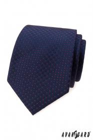 Modrá kravata s červenými puntíky