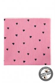 Růžový bavlněný kapesníček se srdíčky