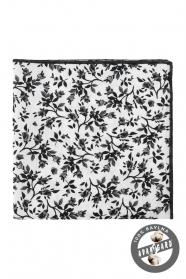Bílý kapesníček s černým květovaným vzorem