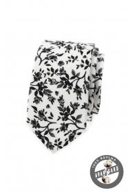 Úzká kravata s květinovým vzorem