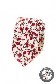 Bílá slim kravata s červenými květy
