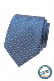 Modrá hedvábná kravata se vzorem
