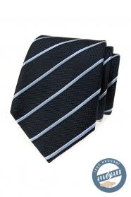 Modrá hedvábná kravata s proužkem v dárkové krabičce