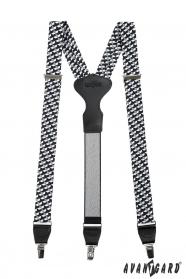 Černobílé látkové šle Y zapínání na klipy - 34 mm