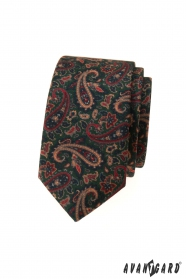 Zelená slim kravata s barevným Paisley vzorem