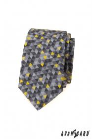 Šedá slim kravata s trojúhelníkovým vzorem