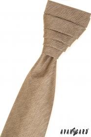 Béžová francouzská kravata v sadě s kapesníčkem