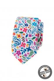 Bílá slim kravata s barevnými květy