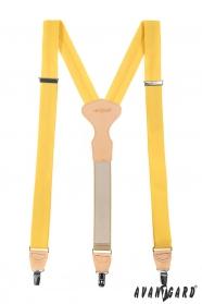 Žluté látkové šle tříbodové s béžovou kůží a zapínáním na klipy