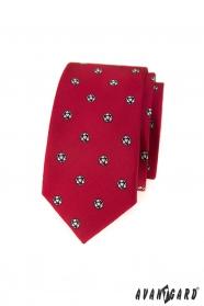 Červená slim kravata fotbalový míč