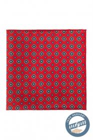 Kapesníček hedvábný červený vzorovaný