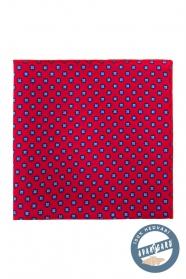 Kapesníček hedvábný červený s modrým vzorem